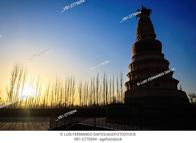 White Horse Pagoda 12 meters stuppa built in 384 at Dunhuang, Gansu province, Northwest China, Asia
