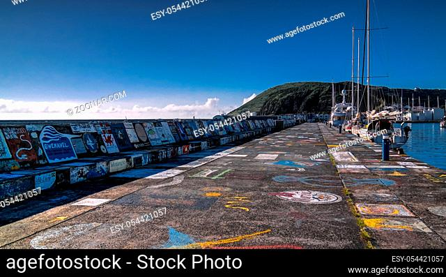 Viewe to Horta pier in harbour - 22 september 2015 Faial island, Azores, Portugal