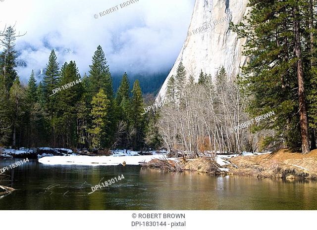 River at foot of mountain, El Capitan, Yosemite National Park, California, USA