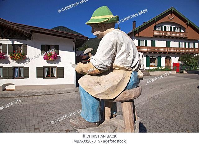 Statue 'whetstone maker' in Unterammergau, Upper Bavaria, Bavaria, Germany