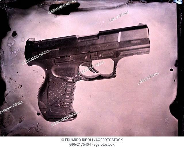 tintype of a gun