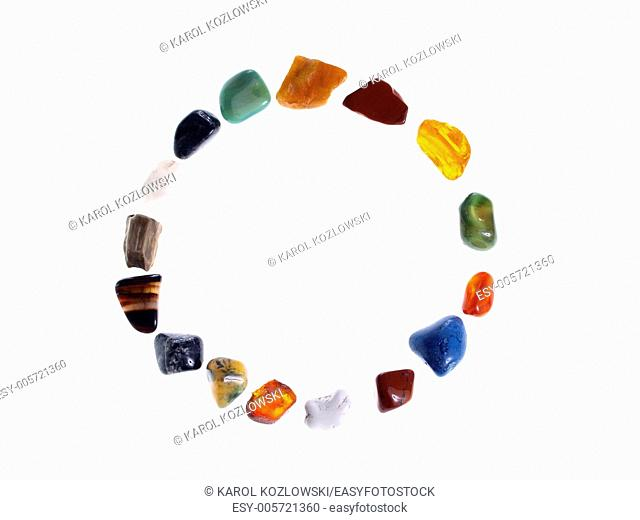 Precious stones on white background, studio isolated photo