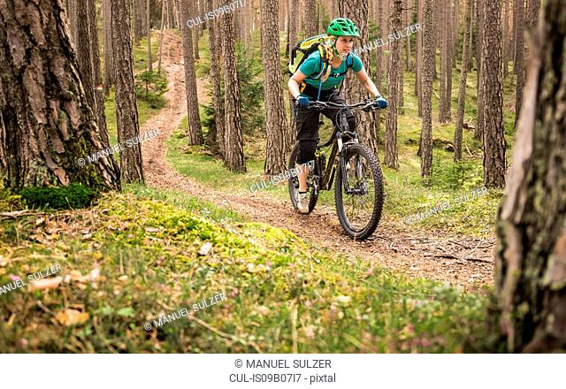 Woman mountain biking in forest, Bozen, South Tyrol, Italy