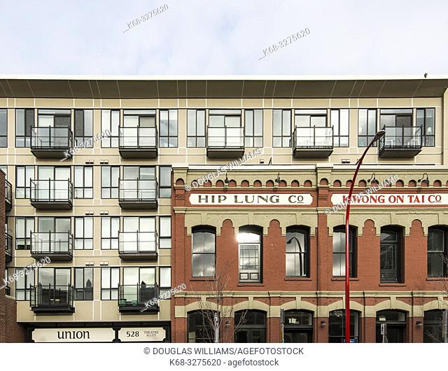 Building in Chinatown, downtown Victoria, BC, Canada