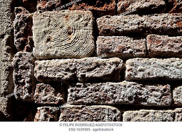 Timber beam on a brick wall, Venice, Italy