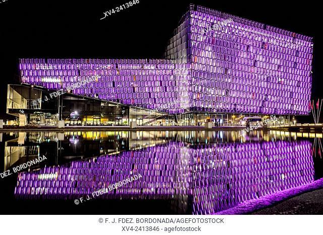 Harpa Concert Hall by night. Reykjavik, Iceland