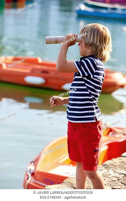 Boy, Port Socoa, Ciboure, Aquitaine, Pyrenees Atlantiques, France, Europe