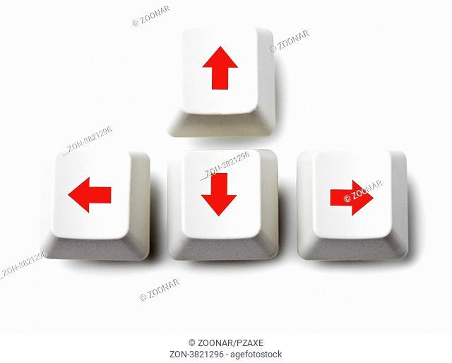 Four cursor arrow keys on white background