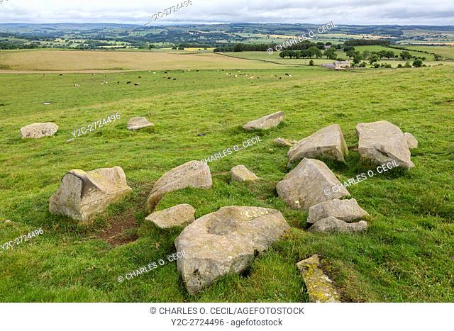 Northumberland, England, UK. Stone Blocks at Limestone Corner, left when Romans Ceased Digging the Defensive Ditch on north side of Hadrian's Wall