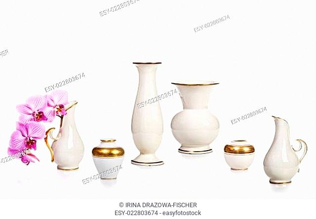 Old vases and orchid