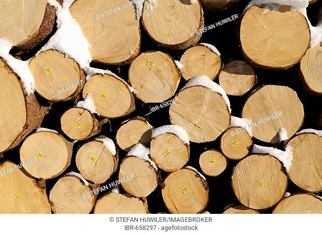 Stacked logs used for construction