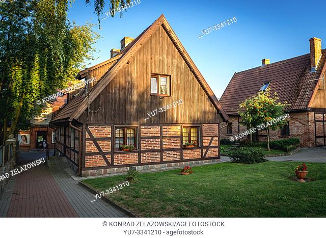 Old renovated houses in Chmielno village Kashubia region of Poland