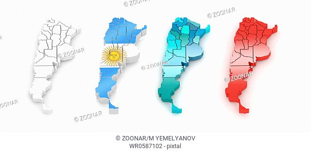 Three-dimensional map of Argentina on white isolated background. 3d