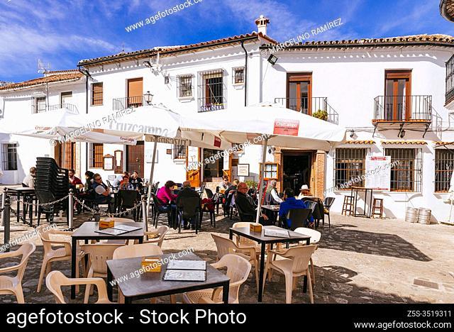 La Posadilla. Terrace in the Plaza de Andalucia. Grazalema, Cádiz, Andalucía, Spain, Europe