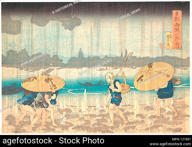 Onmayagashi in Edo. Artist: Utagawa Kuniyoshi (Japanese, 1797-1861); Period: Edo period (1615-1868); Date: 1830-44; Culture: Japan; Medium: Polychrome woodblock...