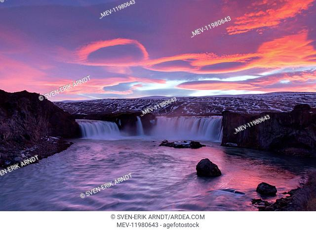 The Godafoss is one of the most spectacular waterfalls in Iceland with the river Skjalfandafljot Iceland