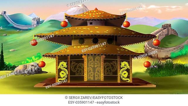 Digital painting of the Chinese Pagoda with Great Wall on the background