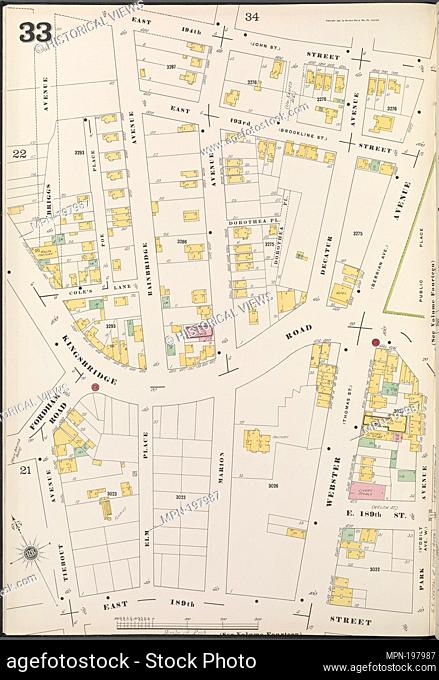 Bronx, V. 13, Plate No. 33 [Map bounded by E. 194th St., Park Ave., E. 189th St., Tiebout Ave.]. Sanborn Map Company (Publisher)