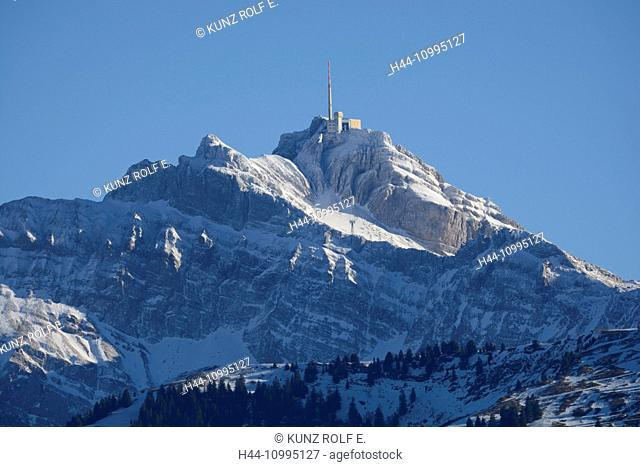 Säntis, mountain peak, mountain, Alps, Canton of Appenzell, Switzerland