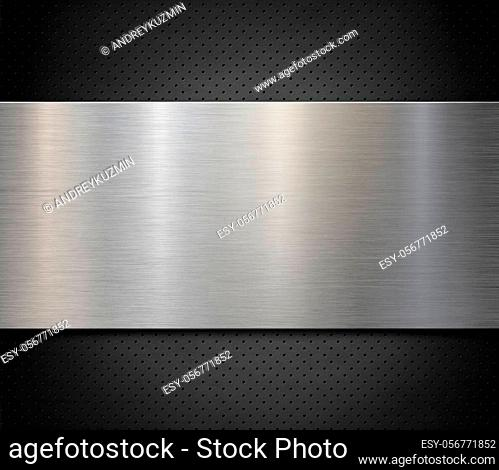 Brushed steel or aluminum metal panel over perforated background