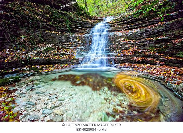 Waterfall in the forest in autumn, Monte Cucco Regional Park, Umbria, Italy