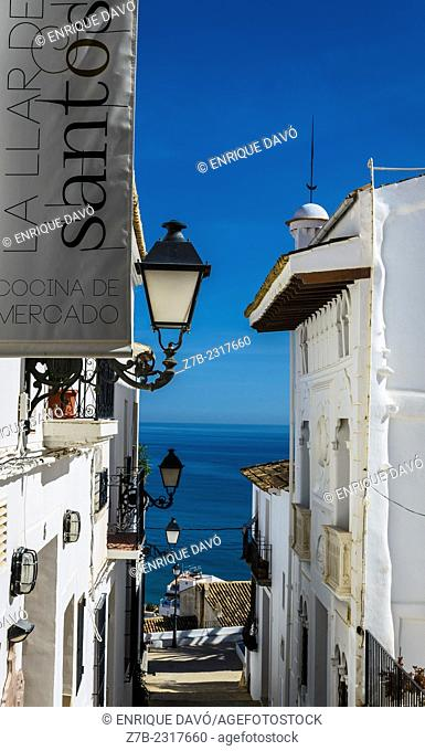 View of the horizon line in Altea old town, Alicante province, Spain