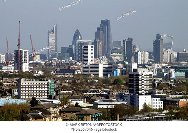 London city skyline view from Parliament Hill Hampstead Heath