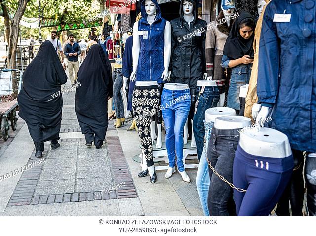 Clothes shop in Shiraz city, capital of Fars Province in Iran