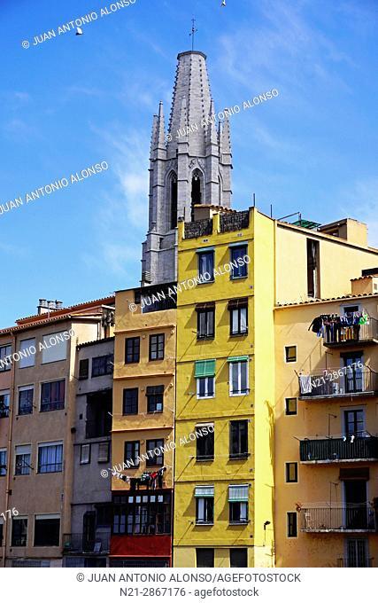Buldings on the Onyar River and the tower of Sant Feliu Church. Girona, Catalonia, Spain, Europe