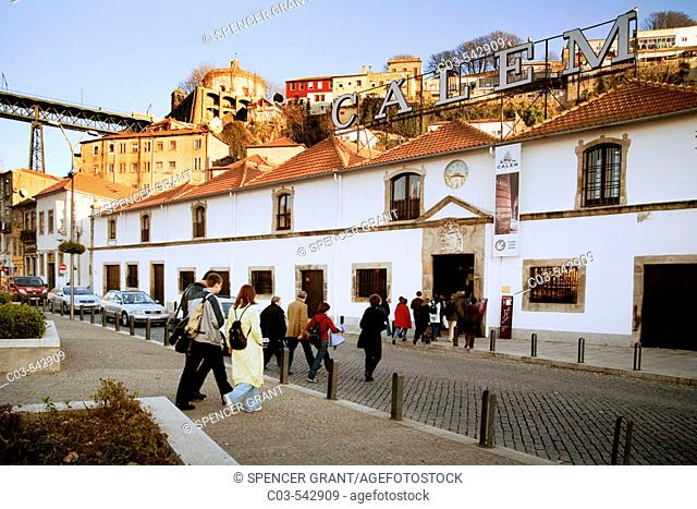 Porto, Portugal: Visitors entering the Calem port-wine tasting lodge on the south bank of the Rio Douro