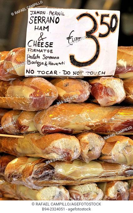 Sandwiches for sale at La Boqueria market, Barcelona. Catalonia, Spain