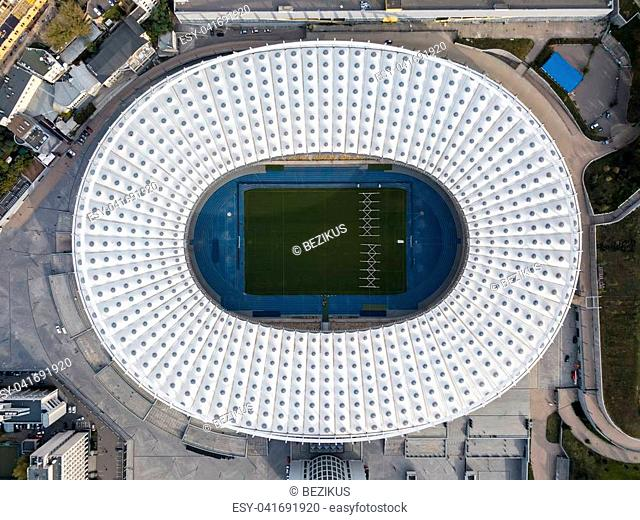Olympic National Sports Complex in Kyiv. Top view panoramic photo. Horizontal