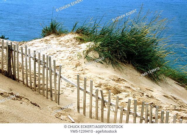 Sand Dune and Drift Fence at Sleeping Bear Dunes National Seashore in Michigan