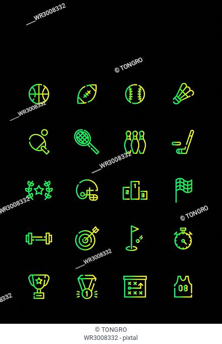 Icon set related to sports