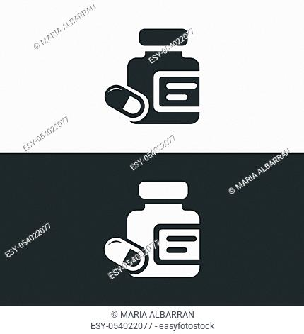 Medicine pills and capsules bottle icon with. Isolated vector illustration