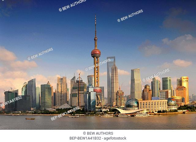 China, Shanghai skyline, view of Pudong and the Oriental earl Tower