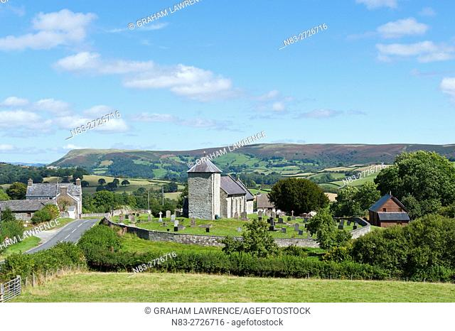 A view of St David's Church in the tiny village of Llanddewi'r Cwm in Powys, Wales, UK