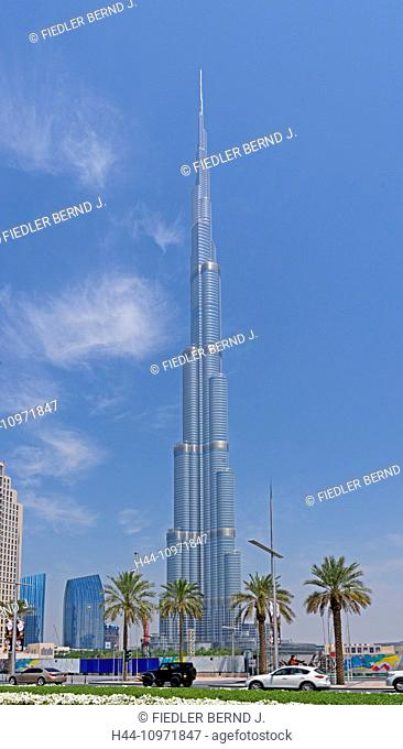 Asia, United Arab Emirates, UAE, Dubai, Sheikh Mohammed Bin Rashid boulevard, Burj Khalifa, height, 828 meters, street scene, palms, architecture, trees