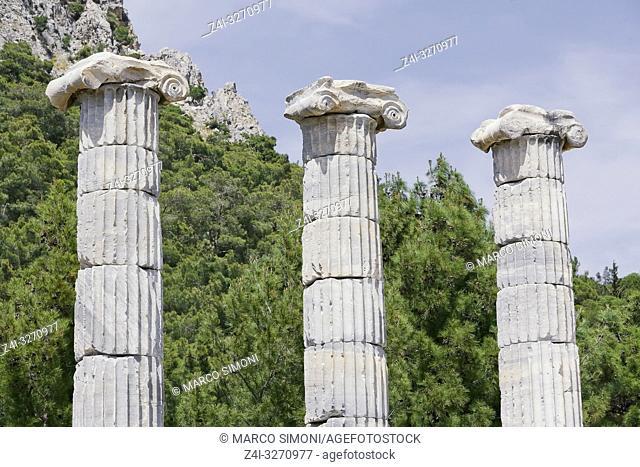 Ancient Roman ruins of Athena Temple, Priene, Turkey, Asia Minor, Asia