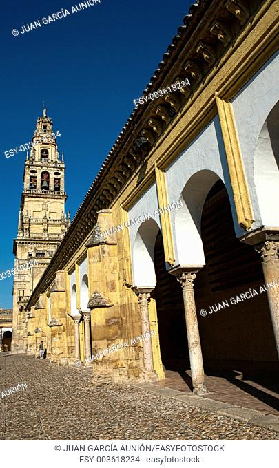 Mosque courtyard with the former Minaret at botton, Cordoba, Spain