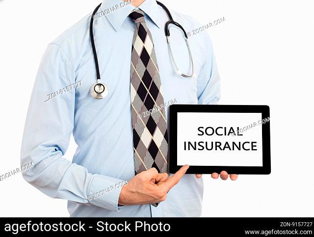 Doctor, isolated on white backgroun, holding digital tablet - Social insurance