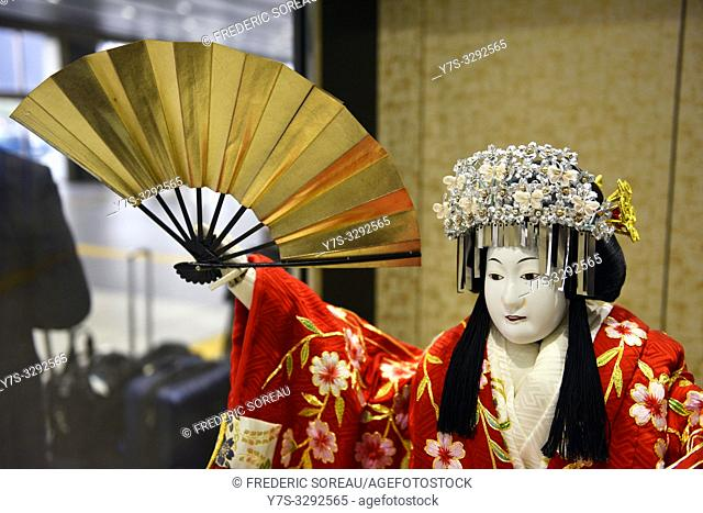 Japanese geisha dolls culture and traditional of Asia in a shop of Ise, Japan, Asia