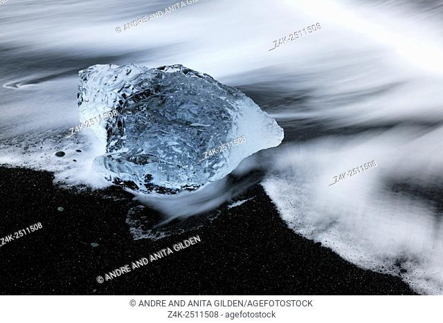 Abstract image from ice on lava beach at Jökulsárlón glacier lake, Iceland