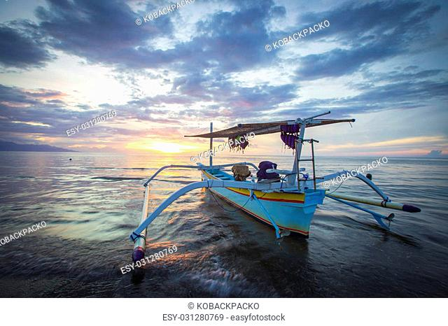 Traditional fishing boats on a beach in Lovina on Bali. Indonesia
