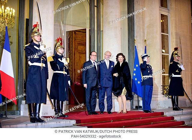 King Carl Gustaf and Queen Silvia of Sweden arrive at the Elysee palace for an state banquet offered by French President Francois Hollande in Paris, France