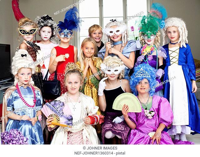 Portrait of girls wearing costumes