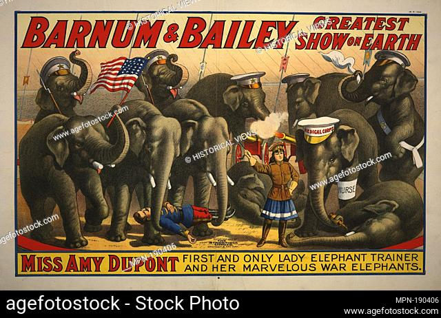 Barnum & Bailey greatest show on earth circus poster. Strobridge & Co. Lith. (Lithographer). Circus and magic posters. Date Issued: 1915 (Approximate) Place:...