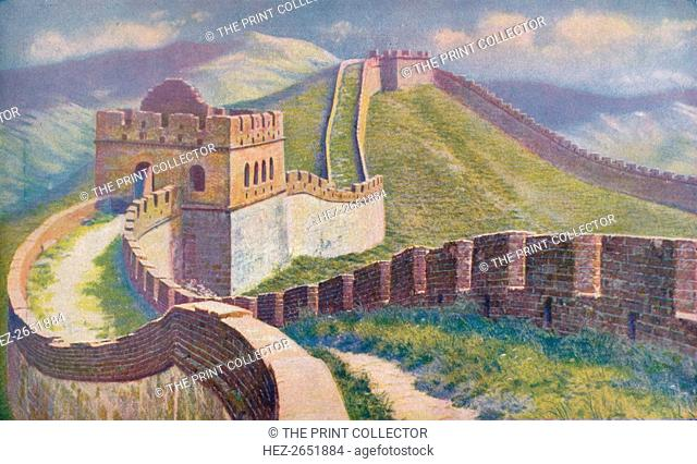 'China. Hwang Ti began the Great Wall of China in 214 B.C. Of its huge length of 1, 500 miles the best preserved section is at the Nankow Pass where the masonry