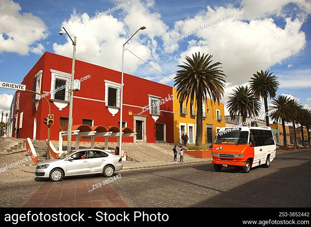 View to the colonial buildings in Barrio El Alto district at the historic center, Puebla, Puebla State, Mexico, Central America