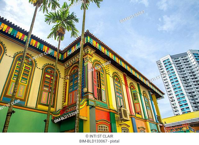 Colorful building on Singapore city street, Singapore, Republic of Singapore